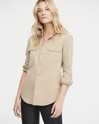 Cotton Chino Military Shirt