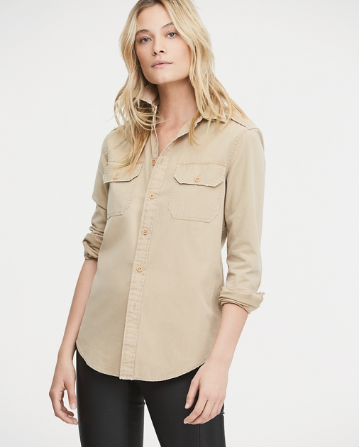 neu billig Tropfenverschiffen preisreduziert Cotton Chino Military Shirt | Button Downs Shirts & Tops ...