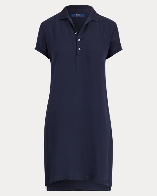 Ralph Short Lauren Sleeve Silk Polo DressDresses PNkXZ8O0wn