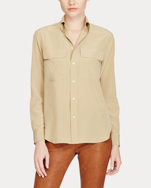 7910f5591 Silk Crepe Button-Down Shirt | Button Downs Shirts & Tops | Ralph Lauren