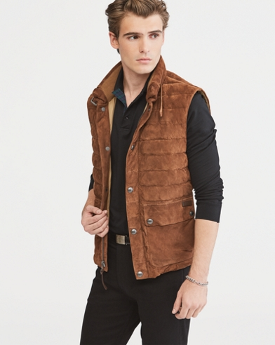 Quilted Suede Down Vest