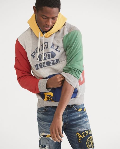 a7add77ae Polo Ralph Lauren Patchwork Cotton-Blend Hoodie 1