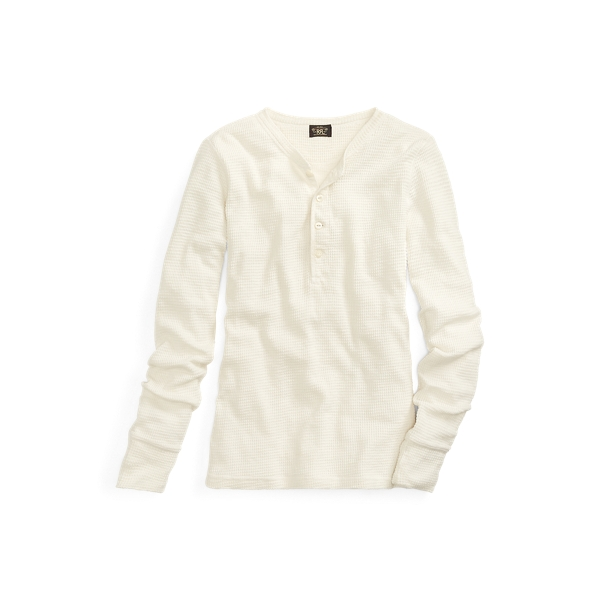 폴로 랄프로렌 Polo Ralph Lauren Slim Waffle Knit Cotton Henley,Paper White