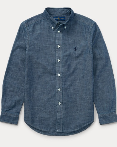 Indigo Cotton Chambray Shirt