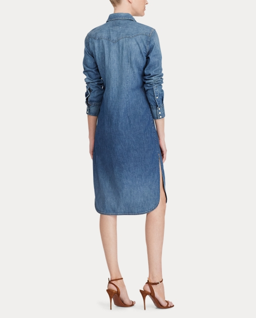 clearance sale price reduced new styles Denim Western Shirtdress
