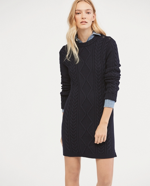 4f70838bc0fe Aran-Knit Wool Sweater Dress