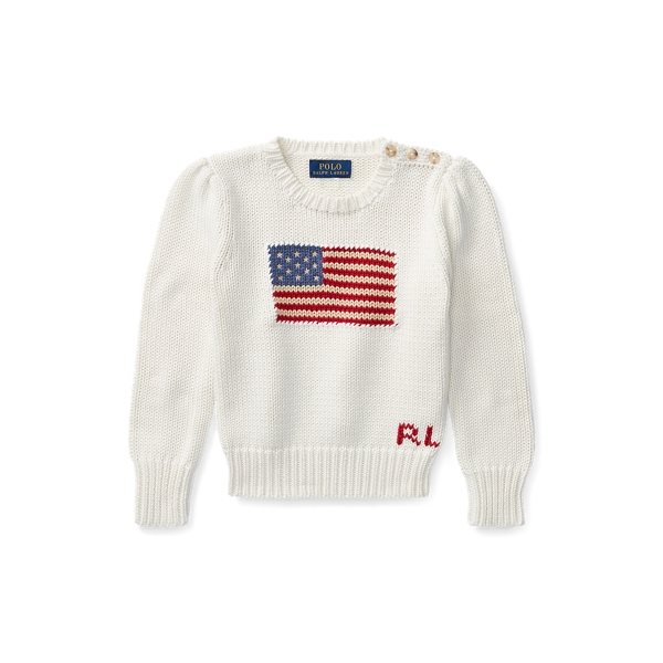폴로 랄프로렌 여아용 스웨터 Polo Ralph Lauren Flag Cotton Crewneck Sweater,Essex Cream