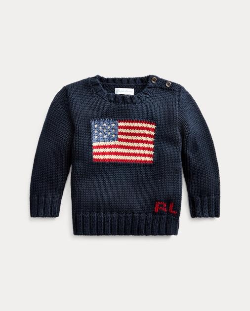 0655e5e3d3be0 Baby Boy Flag Cotton Sweater 1