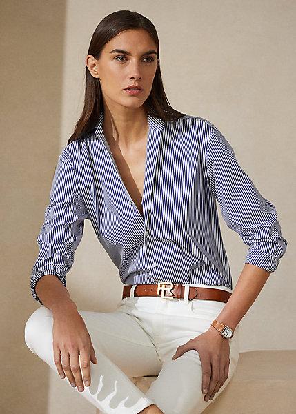 Ralph Lauren Women's Iconic Style Capri Shirt In White/classic Blue