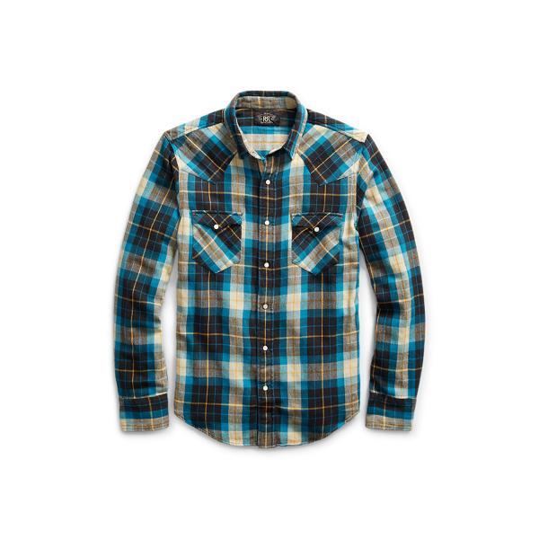 Ralph Lauren Buffalo Cotton Western Shirt Rl 955 Teal Grey Xs