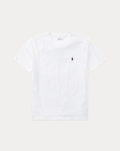 Maglietta a V in jersey di cotone