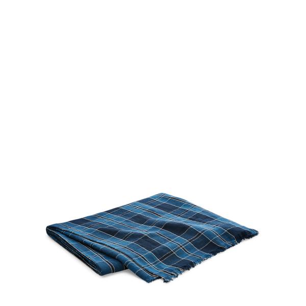 Ralph Lauren Evan Plaid Linen Throw Blanket Navy 54