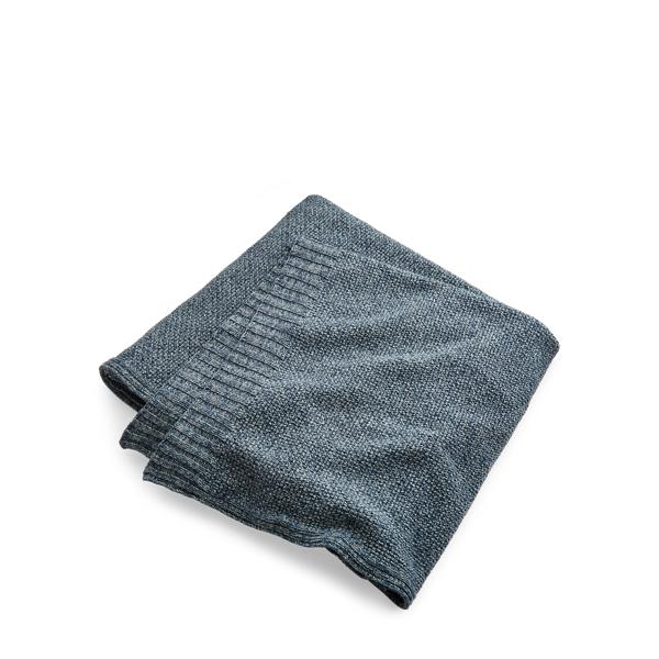 Ralph Lauren Wilke Knit Cotton Bed Blanket Blue King