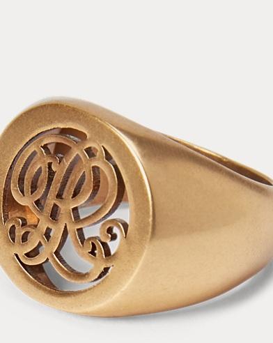 Anillo de sello bañado en oro