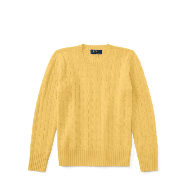 Ralph Lauren Cable-Knit Cashmere Sweater Fall Yellow M