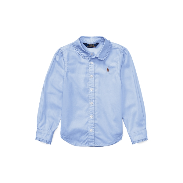 폴로 랄프로렌 여아용 셔츠 Polo Ralph Lauren Ruffled Cotton Oxford Shirt,Blue Hyacinth