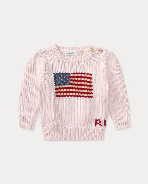 36095445a71ea Baby Girl Flag Cotton Sweater 1