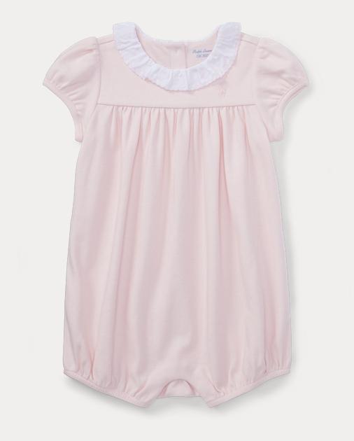 e6ac247799f8b Baby Girl Ruffled Cotton Romper 1
