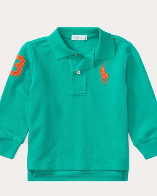 Polo Ralph Lauren Boys Embroidered Skull Striped Rugby Fleece Lined Polo Shirt