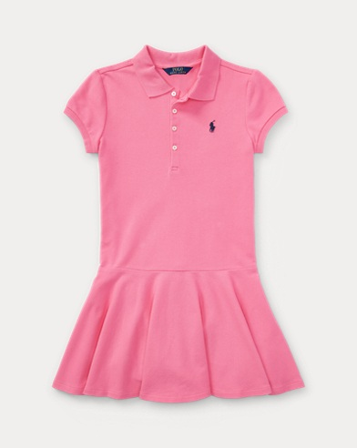 Stretch Cotton Mesh Polo Dress