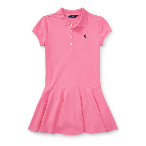 Ralph Lauren Stretch Cotton Mesh Polo Dress Pink S