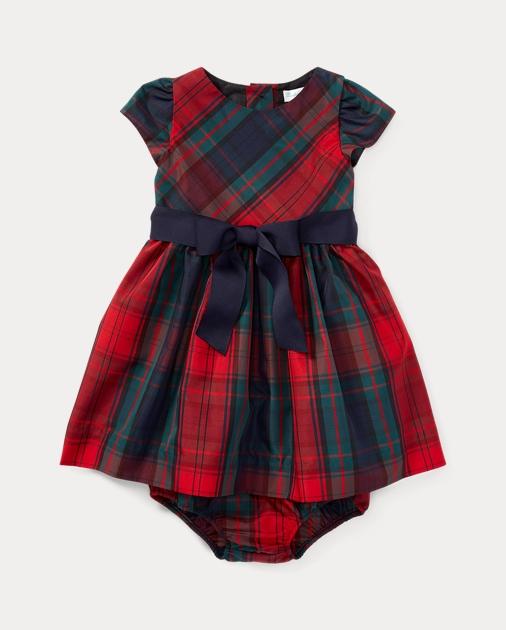3c912e0b9 Baby Girl Tartan Taffeta Dress   Bloomer 1