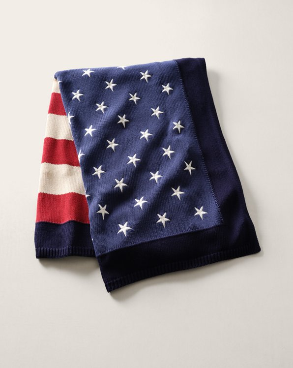 RL Flag Cotton Throw Blanket