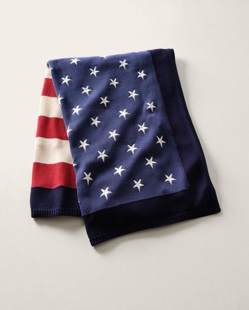RL Flag Cotton Throw Blanket