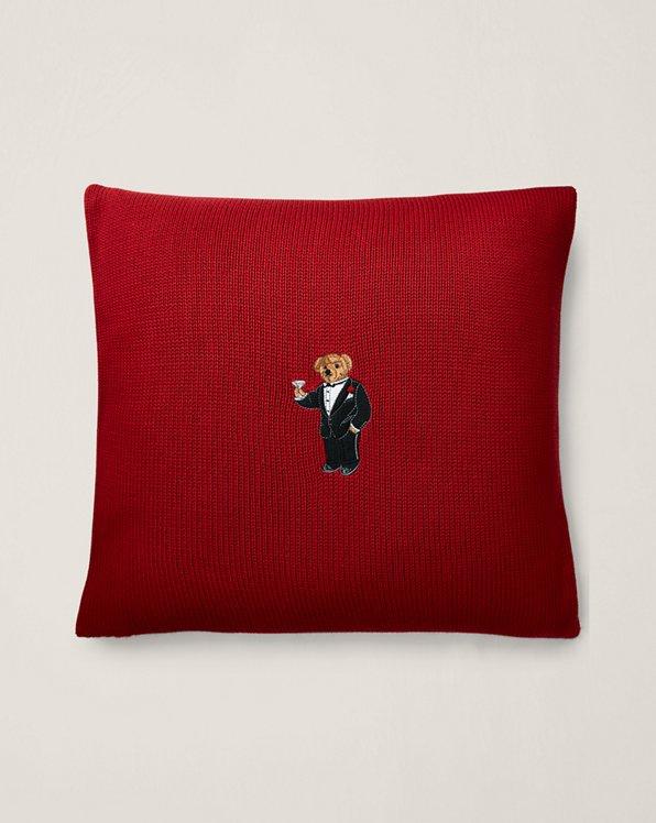 Martini Bear Throw Pillow