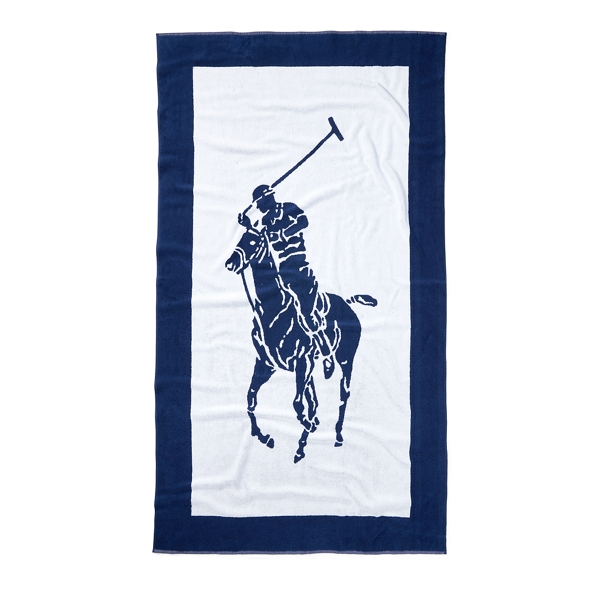 Ralph Lauren Signature Pony Beach Towel Navy / White One Size