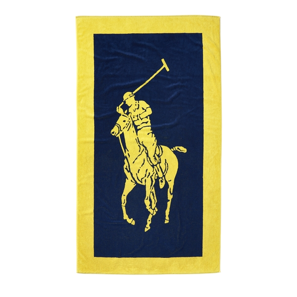 Ralph Lauren Signature Pony Beach Towel Yellow/Navy One Size