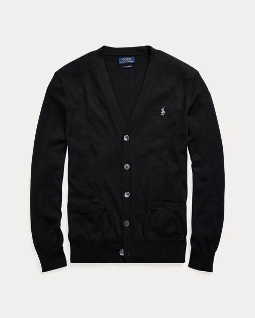 Polo Ralph Lauren Mens Cotton Ribbed Trim Cardigan Sweater