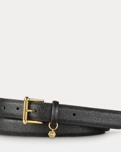 Stingray-Embossed Leather Belt