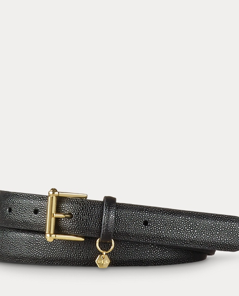 Stingray-Embossed Leather Belt