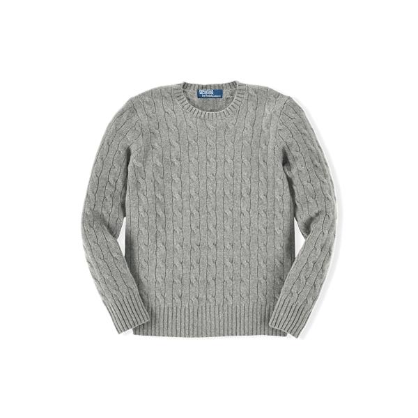 폴로 랄프로렌 보이즈 꽈베기 스웨터 Polo Ralph Lauren Cable Knit Cashmere Sweater,Medium Grey Heather