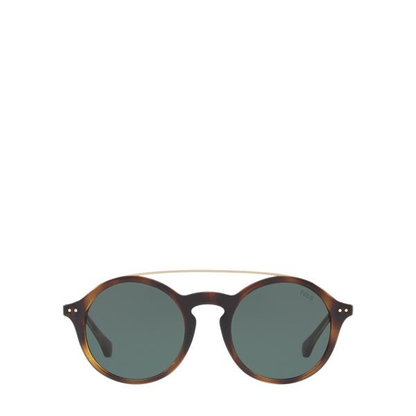 Ralph Lauren Keyhole-Bridge Sunglasses Dark Havana-Green Lens One Size