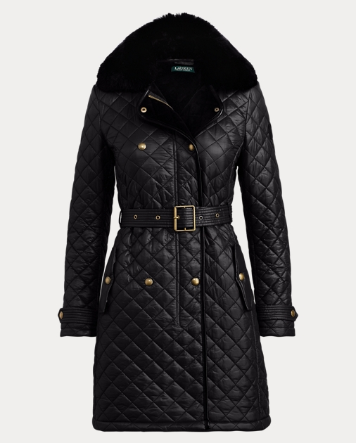 3f89bf47b3e Faux Fur-Trim Quilted Coat