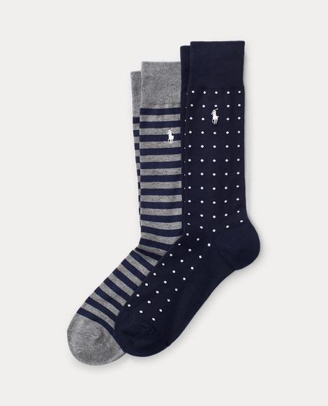 Due paia di calze a righe e a pois
