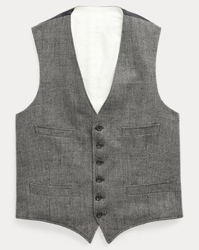 Herringbone Linen-Silk Vest