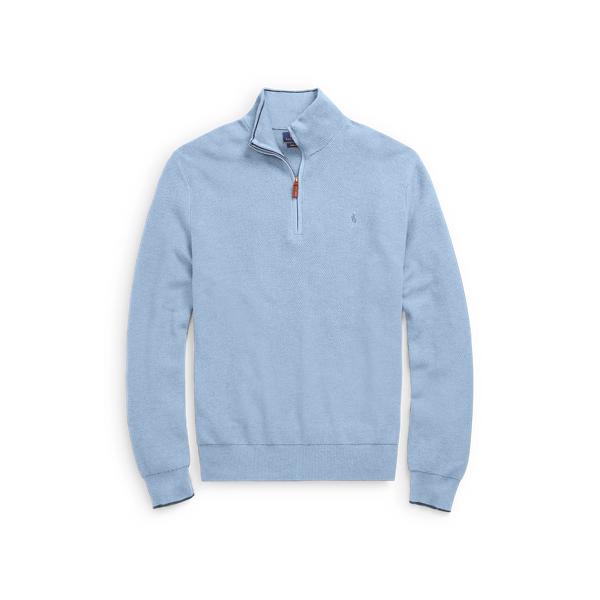 Ralph Lauren Cotton Half-Zip Sweater Jamaica Blue Heather 1X Big