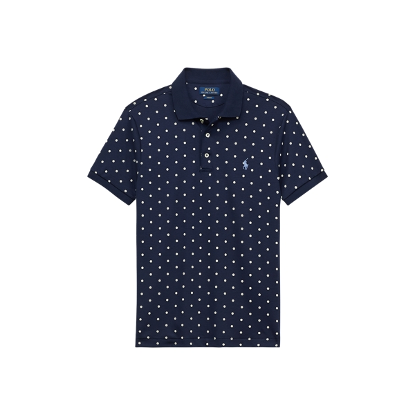 Ralph Lauren Slim Fit Soft-Touch Polo Shirt French Navy Polkadots M