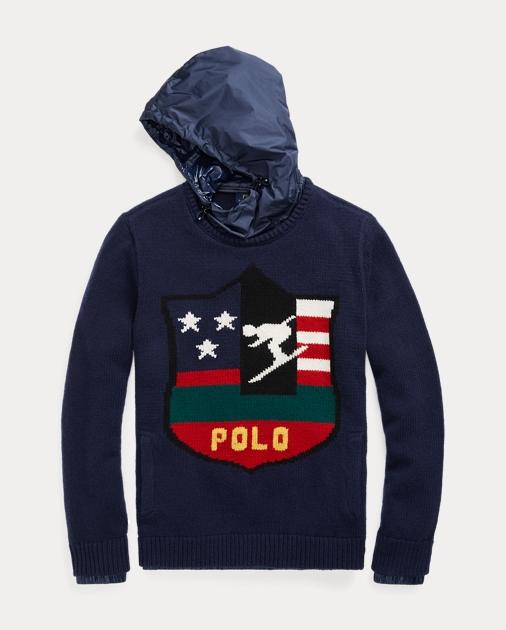 0b07cdbd93e72 Intarsia Wool Hooded Sweater