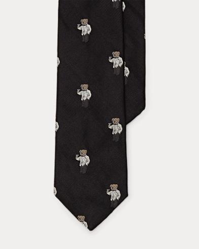 Martini Bear Silk Narrow Tie