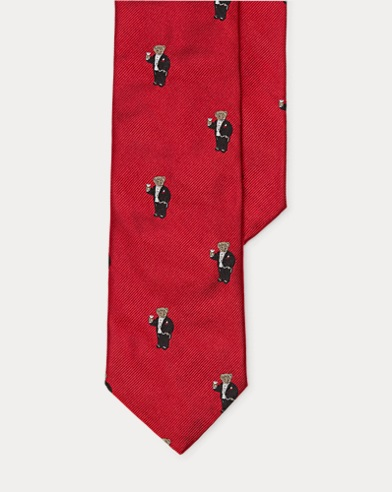 Tuxedo Bear Silk Narrow Tie