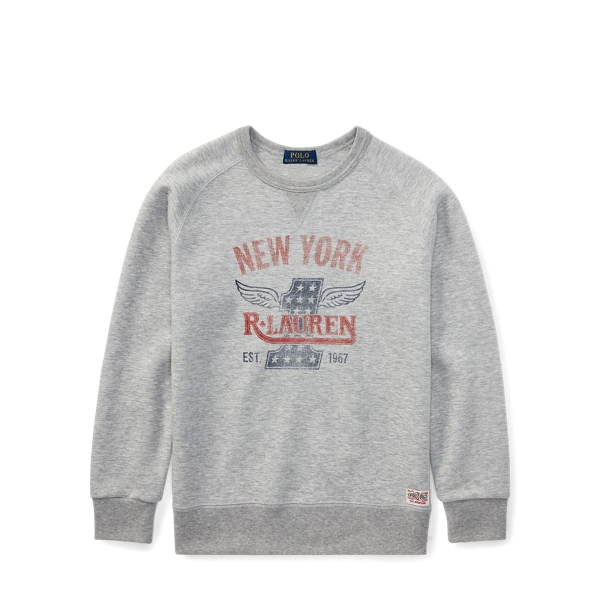 Ralph Lauren Double-Knit Graphic Sweatshirt Light Grey Heather L