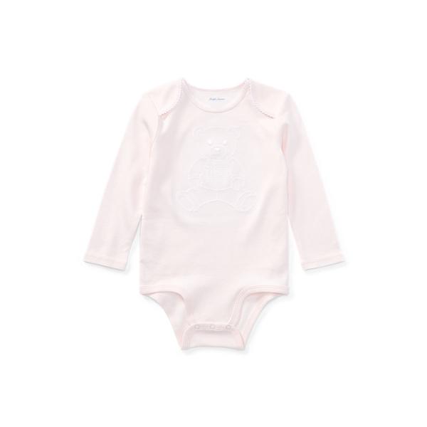 폴로 랄프로렌 베이비 아기옷 우주복  Polo Ralph Lauren Embroidered Polo Bear Bodysuit,Delicate Pink