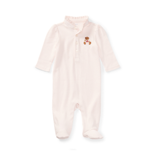 폴로 랄프로렌 Polo Ralph Lauren Embroidered Polo Bear Footed Coverall,Delicate Pink
