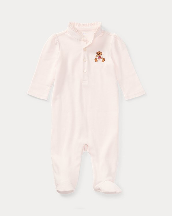 Embroidered Polo Bear Footed Coverall