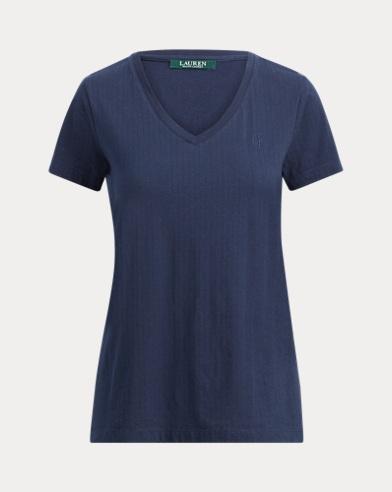 T-shirt à col enV en jacquard