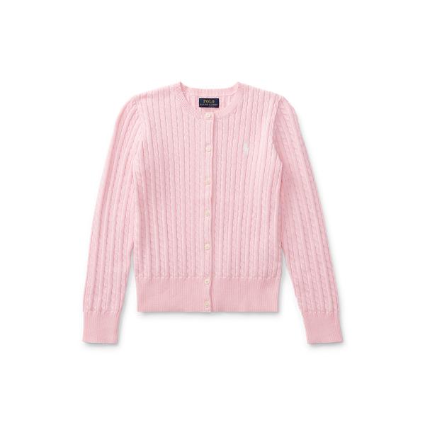 폴로 랄프로렌 걸즈 미니 꽈배기 코튼 가디건 411539 Polo Ralph Lauren Mini Cable Cotton Cardigan,Pink